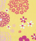 Doodles Collection Twill Large Flowers Yellow Fabric