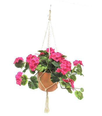 Fresh Picked Spring Geranium Arrangement in Hanging Pot-Pink