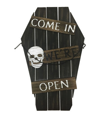 Maker's Halloween Tombstone Porch Sitter Sign-Come In We're Open