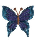 Plaid® Sparkly Sequins Iron-On Applique-Blue Butterfly-Medium