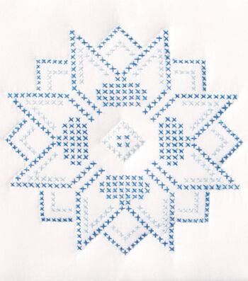 "Stamped White Quilt Blocks 9""X9""-XX Stars"