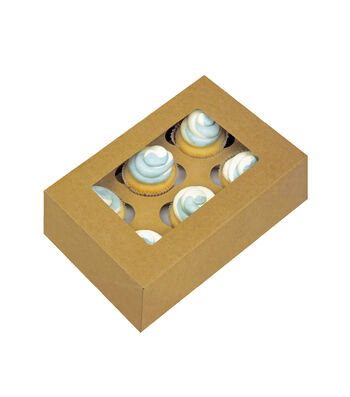 "Cupcake Boxes-6 Cavity Kraft 2/Pkg 3""X9.6""X6.5"""