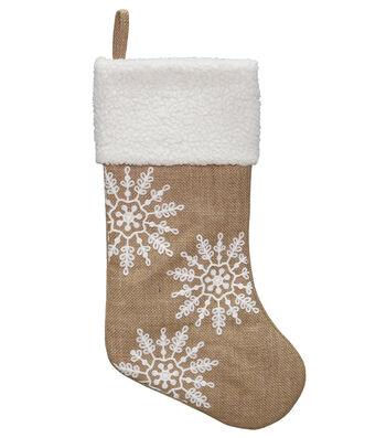 Maker's Holiday Christmas 20'' Burlap Stocking-White Snowflakes