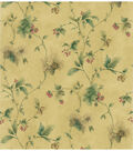 Lewiston Light Brown Pinecone And Berry Trail Wallpaper Sample