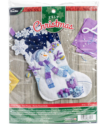 Bucilia Stocking Felt Applique Kit-Frosty Night