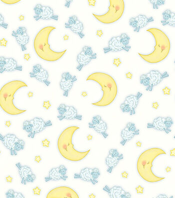 "Nursery Flannel Fabric 44""-Sheep Over Moon"