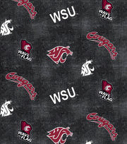 "Washington State University Cougars Flannel Fabric 42""-Distressed Logo, , hi-res"