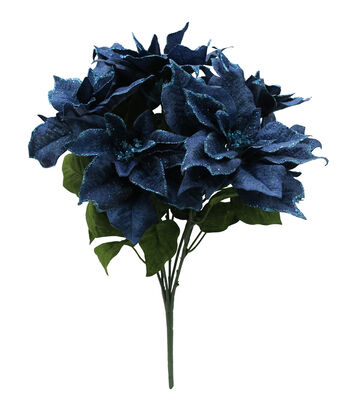Blooming Holiday Christmas 22'' Poinsettia Spray-Blue