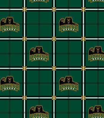 "Baylor University Bears Flannel Fabric 42""-Plaid"