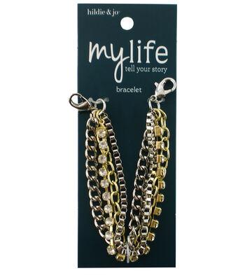 hildie & jo My Life 7'' Gold & Silver Multi Chain Bracelet