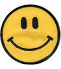 Wrights Iron-On Appliques-Yellow Happy Face 1-7/8\u0022 1/Pkg