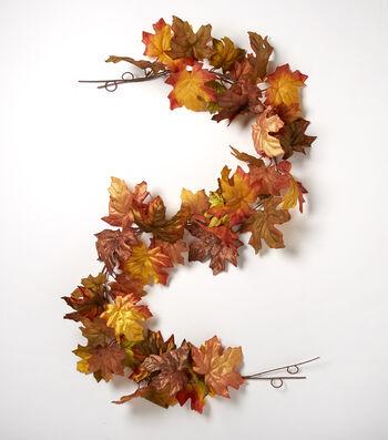 Blooming Autumn 66'' Maple Leaf Garland-Green