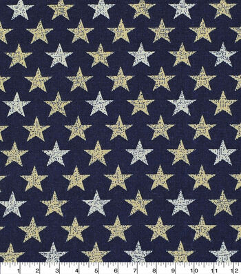 Patriotic Cotton Fabric 43''-Rustic Mini Stars on Navy