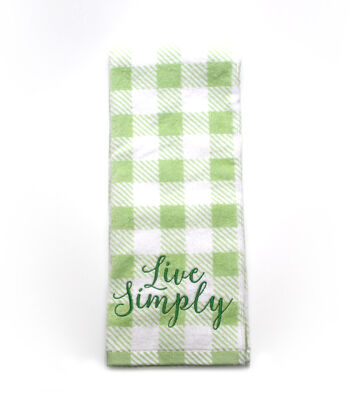 Wild Blooms Velour Terry Towel-Live Simply on Green Gingham