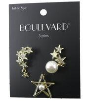 hildie & jo™ Boulevard Star, Pearl Star & Star Cluster Gold Pins, , hi-res