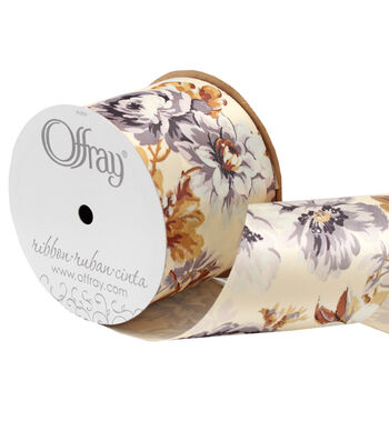 "Offray 3"" x 15' Floral Ribbon-Gray/Orange/Cream"