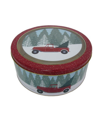 Maker's Holiday Christmas Medium Round Clear Top Cookie Tin-Truck