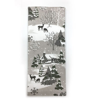 Maker's Holiday Christmas 16''x28'' Winterland Towel-Gray Tree Scene
