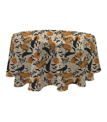 Maker's Halloween Round Tablecloth 60''x60''-Crow & Pumpkin