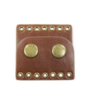 Blue Moon Findings Clasp Faux Leather Snap 7 Hole  Brown, , hi-res