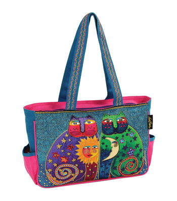 "Laurel Burch Medium Tote 15""x4.5""x10""-Celestial Felines"