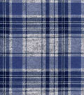 Luxe Flannel Fabric 42\u0022-Plaid Navy Gray Heather