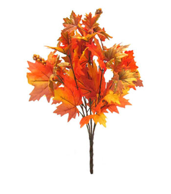 Blooming Autumn 20'' Maple Leaves Bush with Berries-Yellow & Orange
