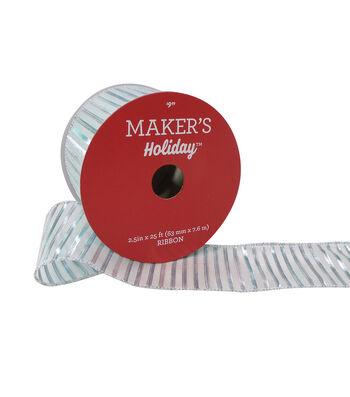 Maker's Holiday Christmas Ribbon 2.5''x25'-Stripe on White