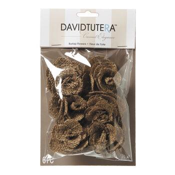 David Tutera Casual Elegance Brown Burlap Flowers, 6pc