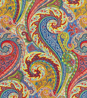 """Williamsburg Solid Fabric 54""""-Jaipur Paisley/Jewel"""