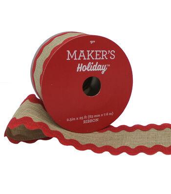 Maker's Holiday Burlap Ribbon 2.5''x25'-Natural with Red Ricrack