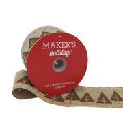 Maker's Holiday Ribbon 2.5''x25'-Red, Green & Gold Trees on Beige, , hi-res