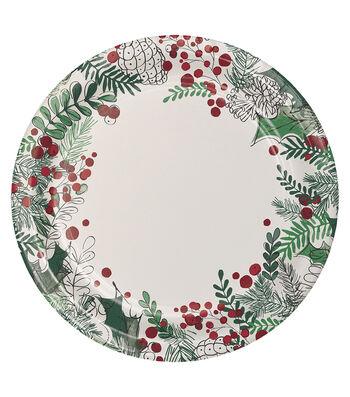 Maker's Holiday Christmas 8 pk Dinner Plates-Winter Wreath