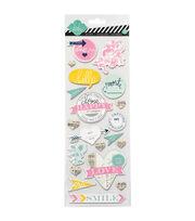 "Heidi Swapp Mixed Media Chipboard Stickers 4.5""X12"" Sheet-Happy, , hi-res"