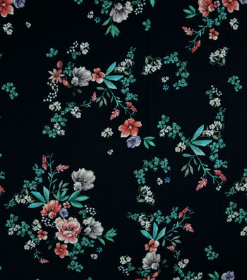 "Silky Stretch Crepe Fabric 57""-Navy Scattered Blooms"