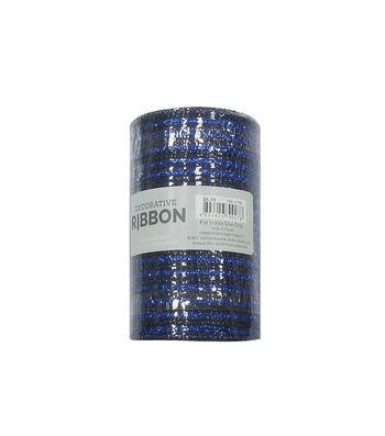 Decorative Ribbon Metallic Deco Mesh 5.5''x10 yds-Navy Blue