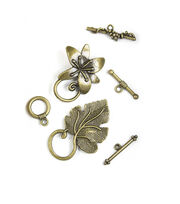 Blue Moon Findings Clasp Metal Multi Pack Toggle Flower Oxidized Brass, , hi-res