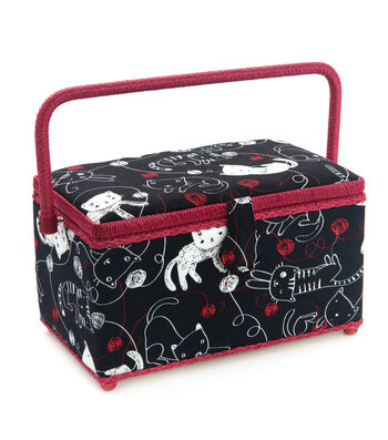 Medium Rectangle Sewing Basket-Black Cat