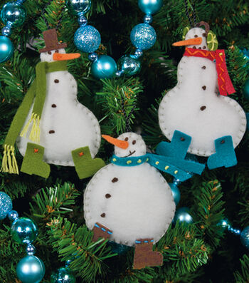 "Simple Snowmen Ornaments Felt Applique Kit-3""X4"" Set Of 3"