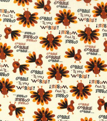 """Harvest Cotton Fabric 43""""-Gobble Til You Wobble"""