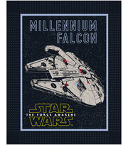 "Star Wars™ VII No Sew Fleece Throw 48""-The Force Awakens Millennium Falcon, , hi-res"
