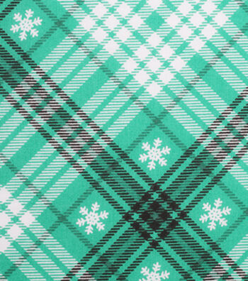 Holiday Showcase™ Christmas Cotton Fabric 43''-White Snowflakes & Black/White Plaid