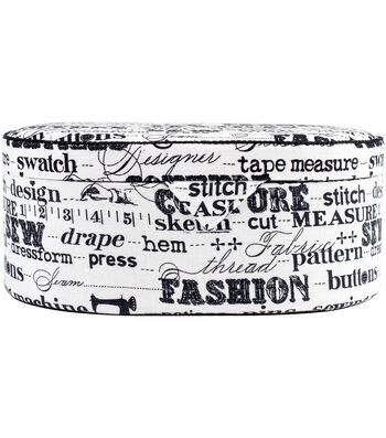 Prym Black On Cream Print Oval Sewing Basket