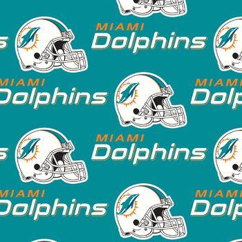 "Miami Dolphins Cotton Fabric 58""-Mascot Logo"