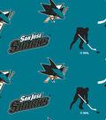 San Jose Sharks Fleece Fabric 60\u0022-Tossed