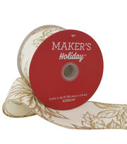Maker's Holiday Christmas Ribbon 2.5''x25'-Gold Poinsettia on Beige, , hi-res
