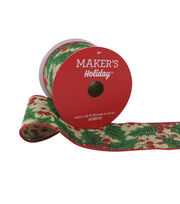 Maker's Holiday Christmas Ribbon 2.5''x25'-Green Holly & Berry on Beige, , hi-res