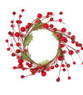 Blooming Holiday Berry & Leaves Floral Ring-Red