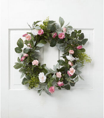 Fresh Picked Spring 22'' Rose & Leaves Wreath-Pink & Fuchsia