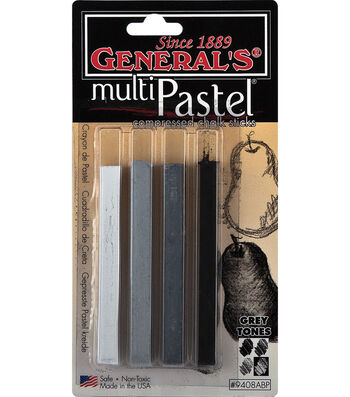 General's Multi Pastel Compressed Chalk Sticks 4/Pk-Grey Tones